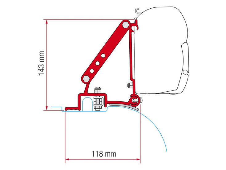 Fiamma F45 adapter Fiat Ducato Jumper Boxer High Roof na 1994 voor 06-2006